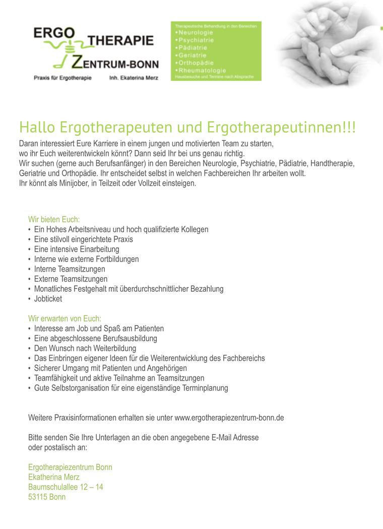 Ergotherapeut/in / Diverse, Ergotherapiezentrum Bonn