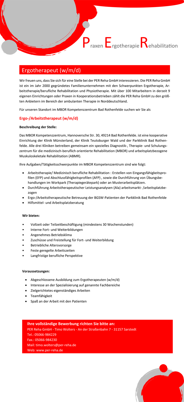 Ergo-/Arbeitstherapeut (m/w/d) in Bad Rothenfelde gesucht!, PER Reha GmbH im MBOR Kompetenzzentrum Bad Rothenfelde