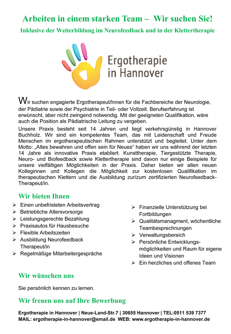 Ergotherapeut/Innen für die Fachbereiche der Neurologie, der Pädiatrie sowie der Psychiatrie in Teil- oder Vollzeit, Ergotherapie in Hannover
