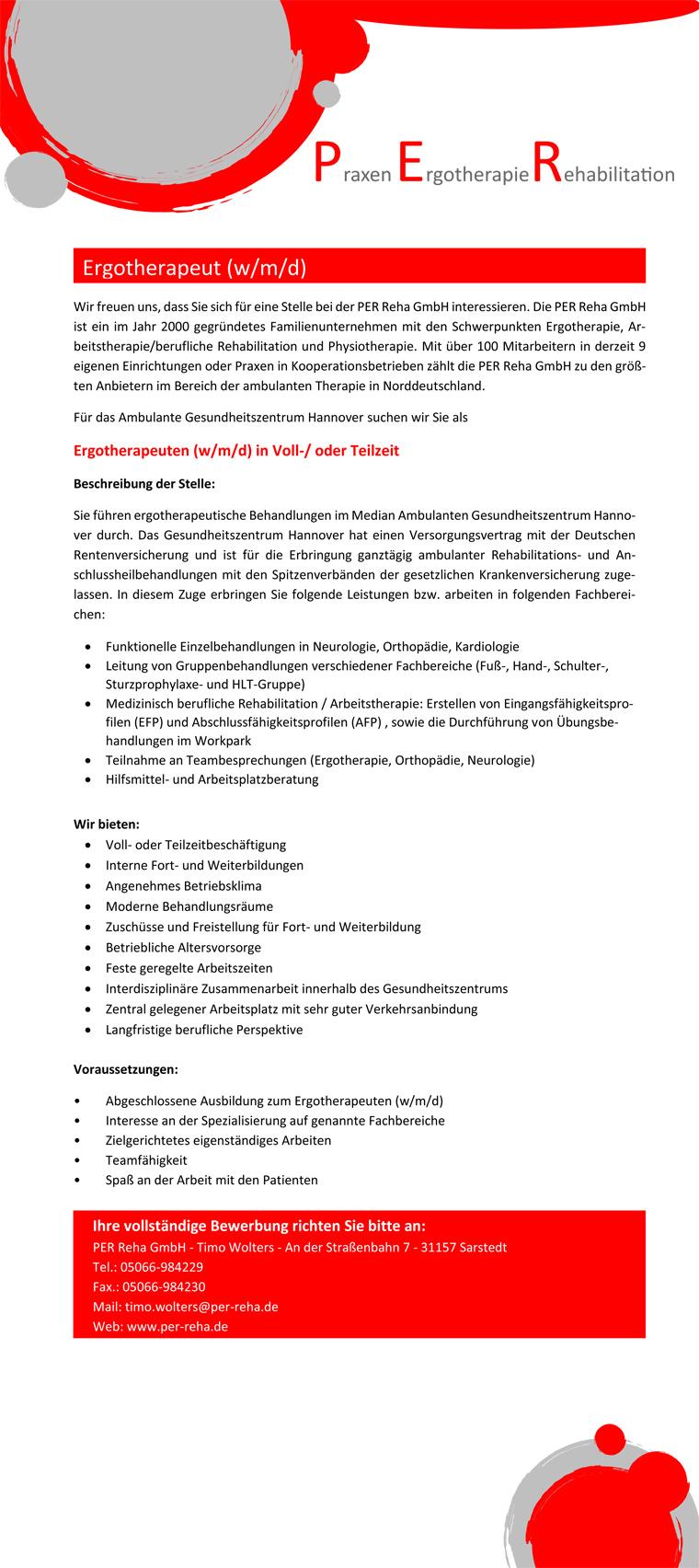 Ergotherapeut (w/m/d) in Hannover gesucht!, Ambulantes Gesundheitszentrum Hannover
