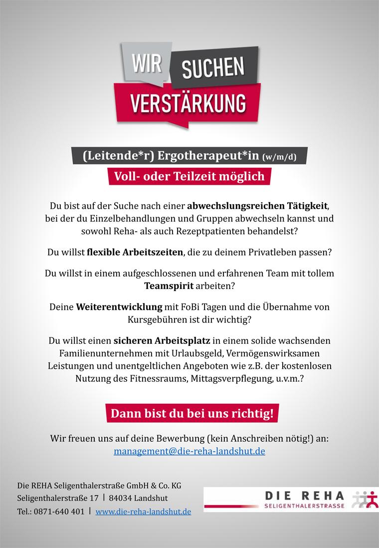(Leitende*r) Ergotherapeut*in gesucht, Die Reha Seligenthalerstrasse, 84034 Landshut