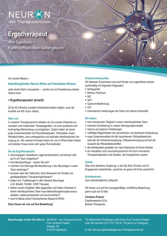 Ergotherapeut/-in nach Egelsbach – Frankfurt/Rhein-Main-Gebiet gesucht, NEURON - das Therapiezentrum, 63329 Egelsbach